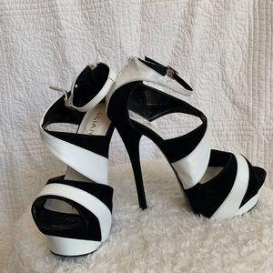 Liliana platform ladies black & white heels